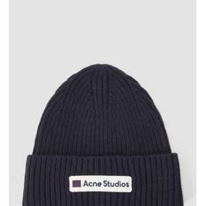 ☀Acne Logo Patch Wool Beanie navy - Blue